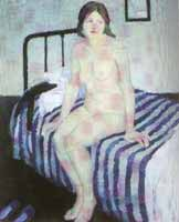 "Edith Collier, ""Girl sitting on a bed"" 1917-18, Sgt Gallery, Wanganui"