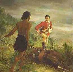 Hauhau confronts a member of the Wanganui Cavalry - click for image
