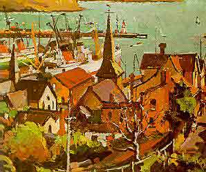 "Evelyn Page: ""Lyttelton Harbour"" 1945, Dunedin Public Art Gallery"